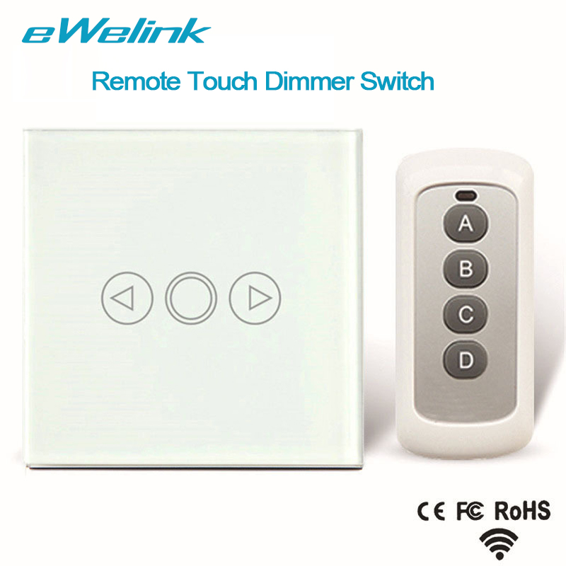 eWelink EU Standard Wireless Remote Control Light Dimmer Switches, Crystal Glass Panel Touch Dimmer Switch for Smart Home smart home 1gang1way golden crystal glass panel eu standard remote touch dimmer switches led wall light dimmer remote switch