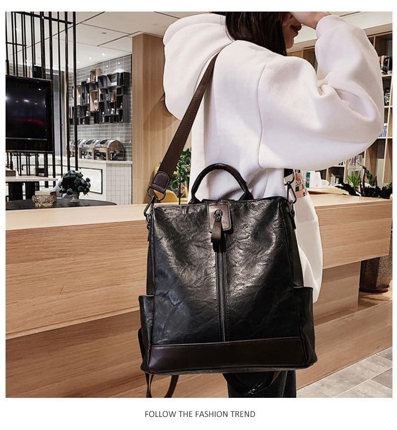Fashion Women High Quality Leather Backpack Multifunction Leatherett Backpack For Female Big Bookbag Travel Bag Sac A Dos XA279H