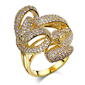 New hot arrival Marriage anniversary Exaggerated wedding accessories Geometric wave design Ladies luxury rings Synthetic cubic