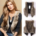 M-XXXL Slim Look Women Ladies Fashion Excellent Fur Coat Hot Sale Brown Faux Fur Vest Women Winter Jacket Coat 34