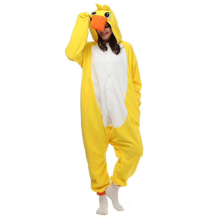 Adults Polar Fleece Kigurumi Little Yellow Duck Costume Animal Onesie Pajamas Halloween Carnival Masquerade Party Jumpsuit