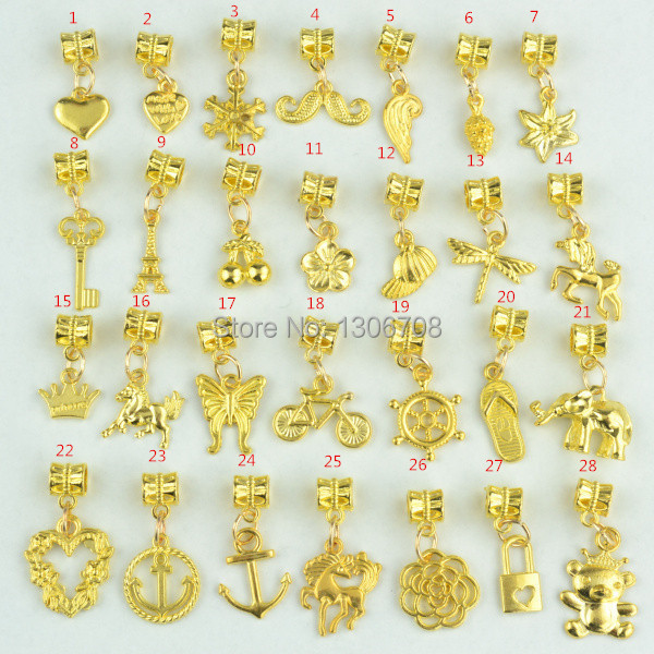 New design 28pcs mixed metal charms gold color big hole bead new design 28pcs mixed metal charms gold color big hole bead pendants fits pandora braceletsnecklace jewelry hand made 3051 in charms from jewelry mozeypictures Gallery
