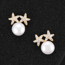 SISCATHY Hot Elegant Cubic Zirconia Bowknot Simulated Pearl Earrings For Women Stud Bridal Wedding Jewelry Accessories