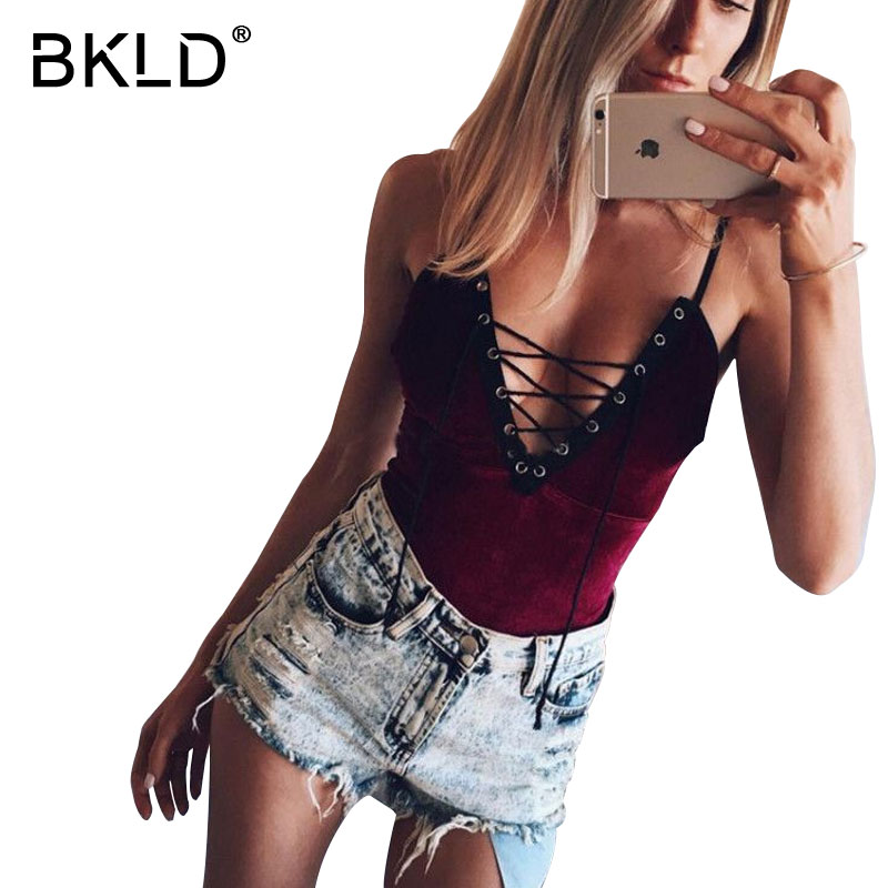 BKLD Lace Up Bandage Strap Bodysuit Women Sexy V-neck Backless Body Suits Red Velvet   Jumpsuit   Romper 2018 Autumn Casual Overalls