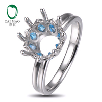Caimao 10mm Round Cut Semi Mount Setting Ring 14K White Gold Natural 0 9ct Topaz Engagement