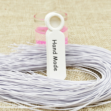 5*1.3cm white paper handmade tag 100pcs+100pcs elastic string for proudcts packing tagging label