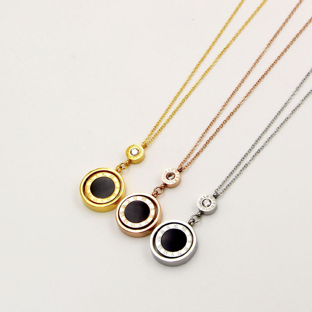 Lady Jewelry Double Circle Roman Numeral Necklace For Women Turnable Black White Shell Pendent Necklace Jewelry Party K0030 5