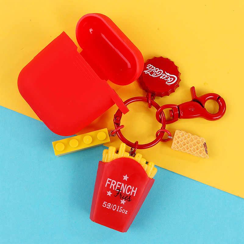Mini lindo resina alimenticia simulación llaveros bolsos llavero de coche titular de la hamburguesa llaveros accesorios pequeños regalos colgante joyería