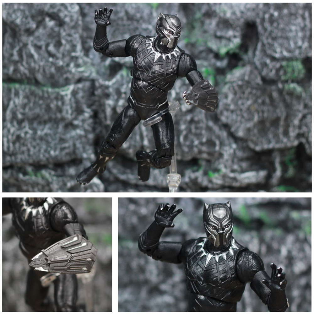 Marvel Black Panther 17cm Action Figure With Claw Captain America Wakanda Vibranium Shield Movie Avengers Infinity War Doll Toy