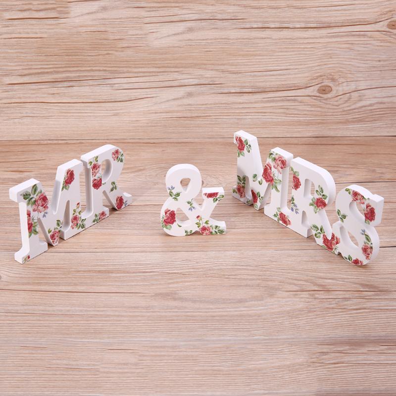 3 шт./компл. Mr & Mrs лес цветок розы принтом/белые буквы брак украшение стола Декор свадьбу знак жениться орнамент