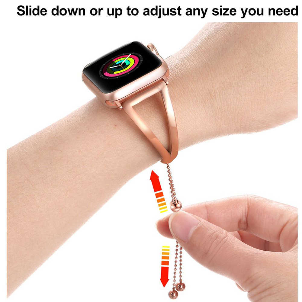 JANSIN Women fashion watch band For Apple Watch 38mm 42mm 40mm 44mm Stainless Steel bracelet for Apple Watch band Series 5 4 3 2