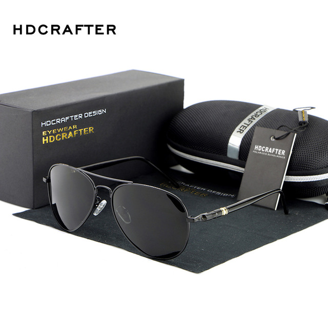 HDCRAFTER Polarized Men Sun Glasses Man Aviador Sunglasses Mens Round Pen Leg Designer Eyewear with Case Oculos De Sol Masculino