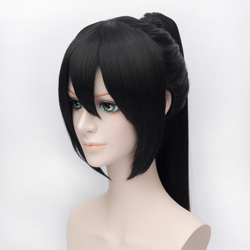 Hakuouki Yukimura Chizuru Cosplay Wigs for Women Man Unisex Synthetic Hair Wig 60cm Long Straight Ponytail Black Free Shipping in Anime Costumes from Novelty Special Use