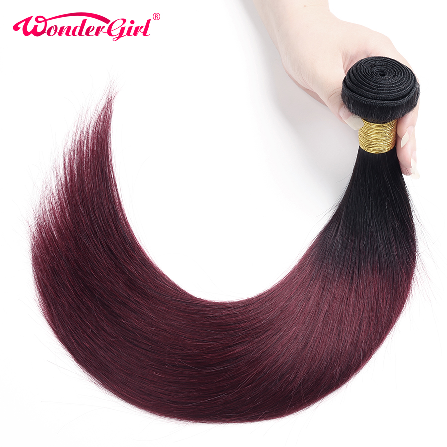 Wonder Girl Ombre Brazilian Straight Hair Bundles 1B 99J / Burgundy - Mänskligt hår (svart) - Foto 3