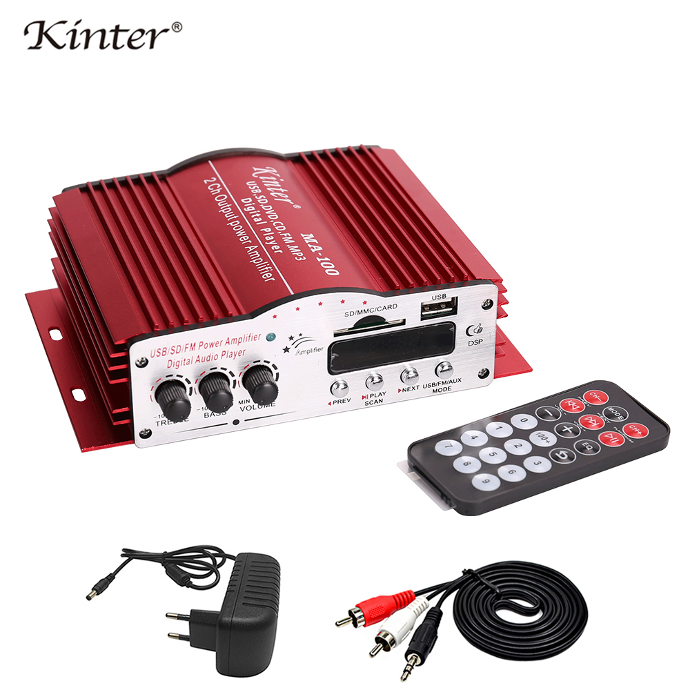 kinter MA-100 Hi-Fi digital amplifier audio DC12V USB SD FM input mini aluminum shell use in home or car with power supply цена