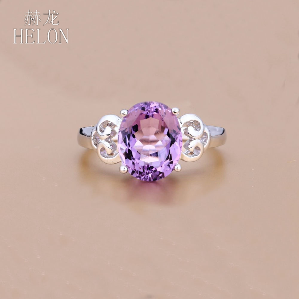HELON  8X9mm Oval Shape 2.63ct Natural Amethyst 925 Sterling Silver 925 Fashion Jewelry For Women Wedding Party Birthday Ring HELON  8X9mm Oval Shape 2.63ct Natural Amethyst 925 Sterling Silver 925 Fashion Jewelry For Women Wedding Party Birthday Ring