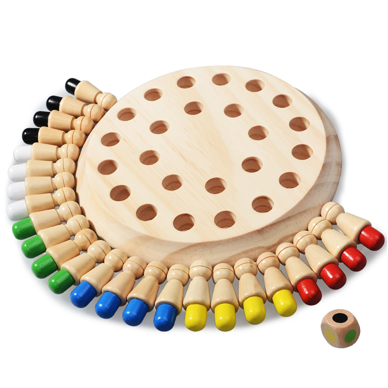 Kids Party Game Wooden Memory Match Stick Chess Game Fun Block Board Game Educational Color Cognitive Ability Toy for Children 3
