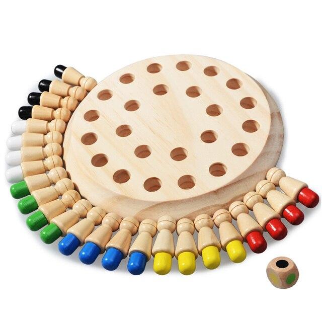 I bambini del partito di gioco di Legno di Memoria Partita Bastone di Gioco di Scacchi Divertimento a Bordo di Blocco Gioco Educativo di Colore Capacità Cognitive Giocattolo per I Bambini 6