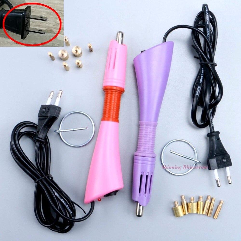 ¡Rápido calentado! Aplicador de diamantes de imitación Hotfix Purple/Pink Choice hot fix aplicador de hierro en la varita de calor-fix herramienta Wand Gun Garment
