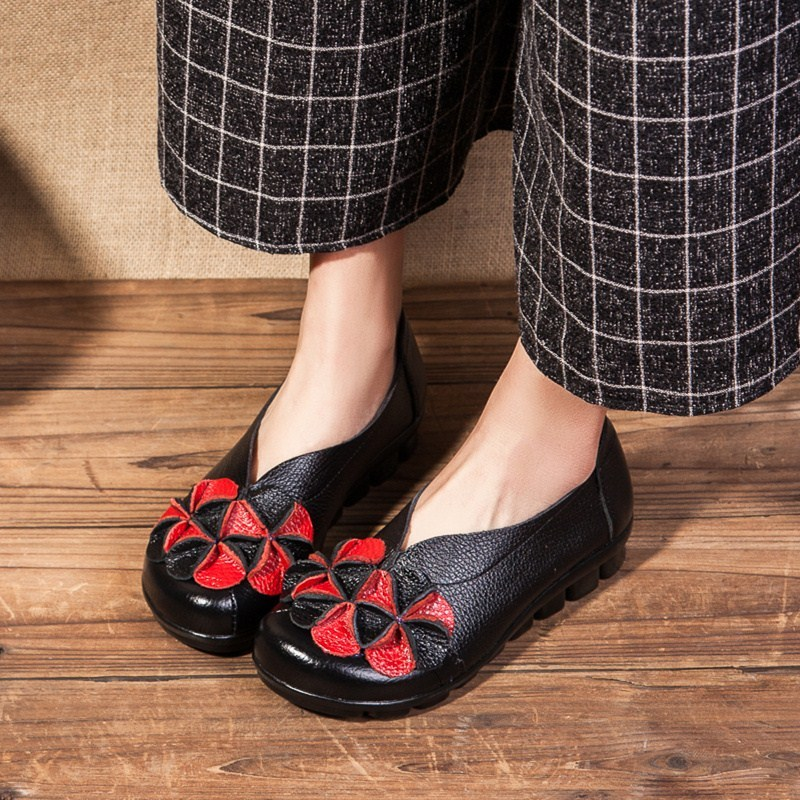 купить New national style fashion shoes spring and autumn retro genuine leather women's singles shoes selling handmade casual shoes онлайн