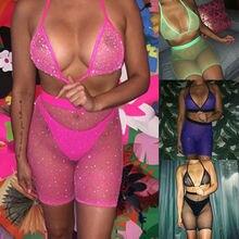 Sexy Bodydoll Women Rhinestone lingerie 2019 Mesh Fishnet Halter Bra High Waist Shorts Sequined Baby