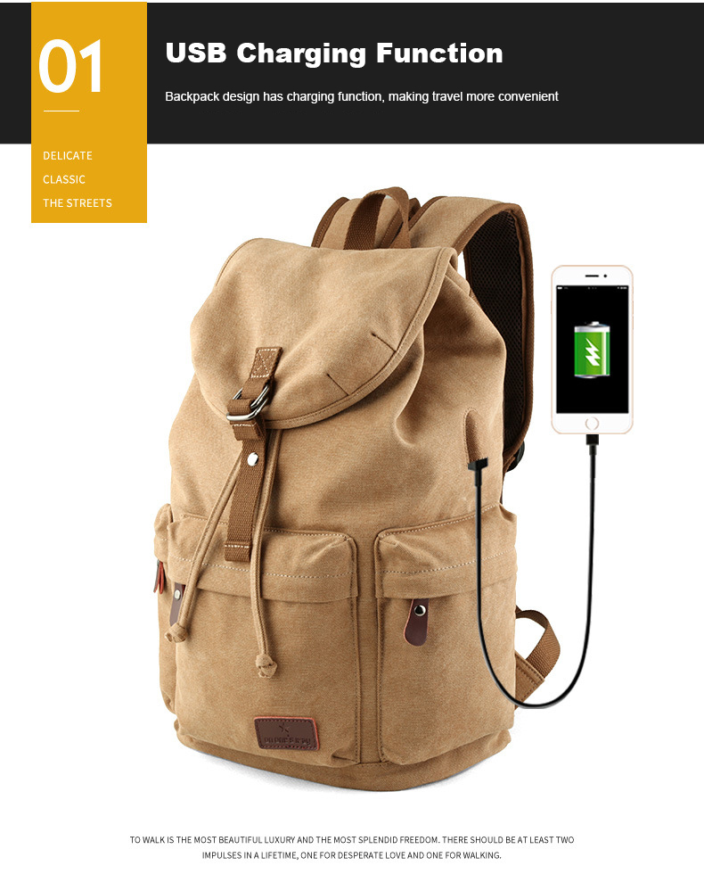ATAXZONE Canvas Men's Backpack Large Capacity High Quality 15-inch Casual Rravel Universal Backpack Travel Bag Hiking Backpacks 8