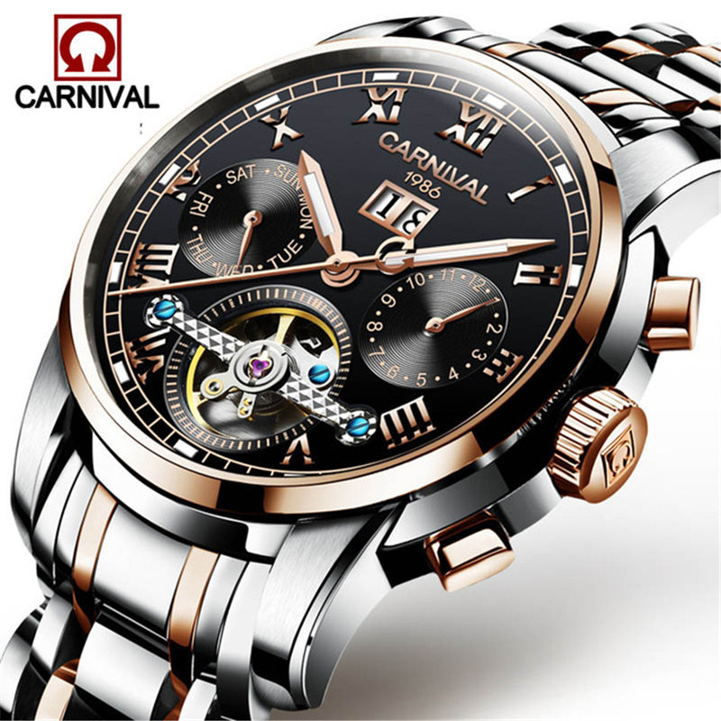 Mens Multifunction Automatic Mechanical Watches Carnival Men Luxury Tourbillon Watch Male Stainless Steel Wristwatches Relogios
