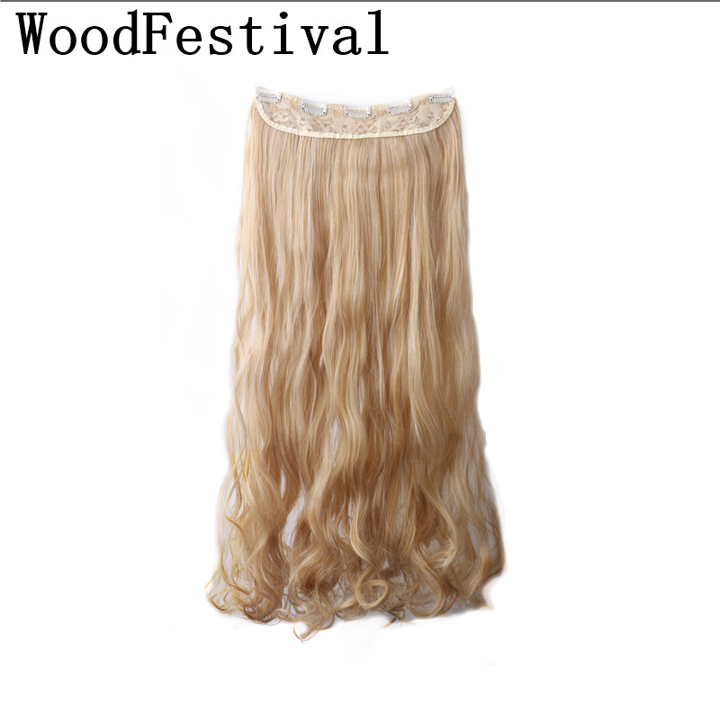 WoodFestival 28 inches 5 clip in hair extensions curly long ponytail hairpieces for women wigs synthetic(China)