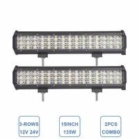 2pcs 135W 15 INCH OFFROAD LED WORK LIGHT BAR SPOT FLOOD COMBO 12V 24V CAR TRUCK