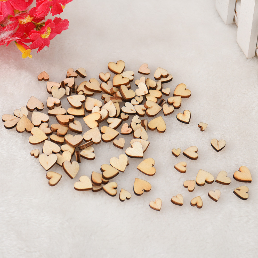 100pcs Rustic Wood Wooden Love Heart Wedding Table Scatter Decoration Crafts DIY Craft Accessories Vintage Wedding