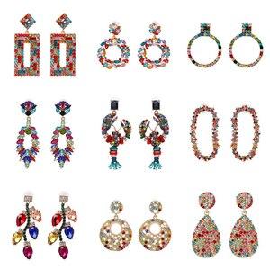 FASHIONSNOOPS nowy kolorowy wzór znanej marki luksusowe Starburst wisiorek kryształowe kolczyki Gem kreatywne kolczyki biżuteria