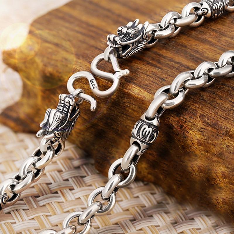 S925 Sterling Silver Retro Thai Silver Men Dragon Shurangama Mantra Six Words Chain Necklace Pure Silver