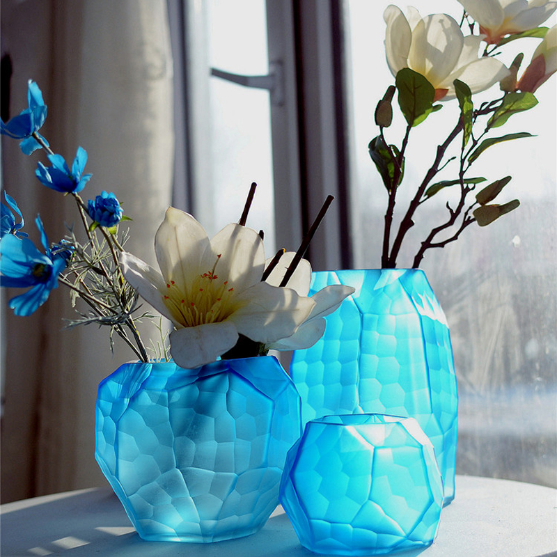 Coloured glass vase Manual grinding carved geometric terrarium Flower vases wedding home decoration accessories
