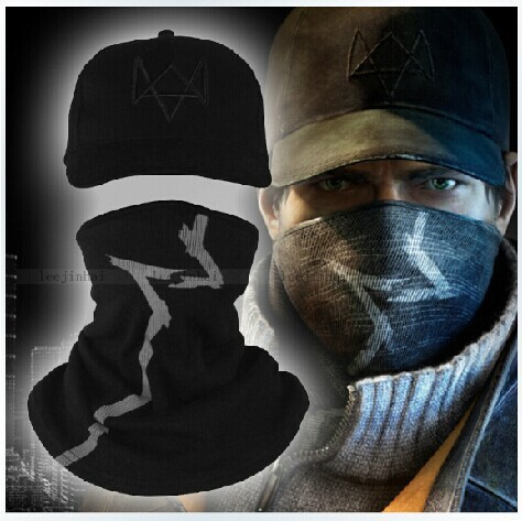 Watch Dogs Aiden Pearce Face MASK CAP Hat Costume Cosplay Mask+Hat Set Free Shipping