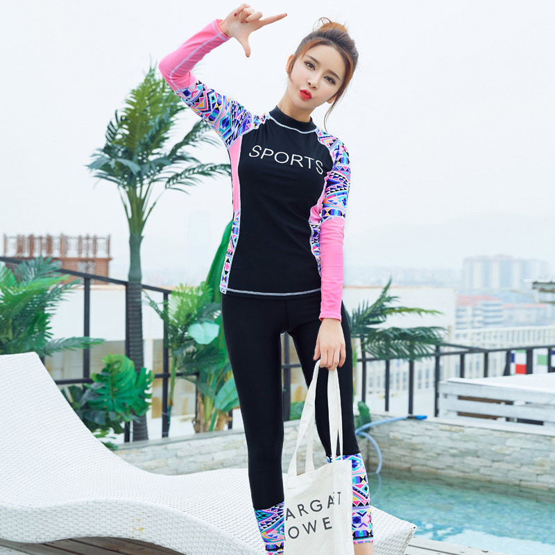 93265eaf0e41f Muslim Women's Swimsuit Full Covered Surfing Swimming Suit Long Sleeve Rash  Guard Women Swimwear With Leggings Two Piece Suits-in Body Suits from  Sports ...