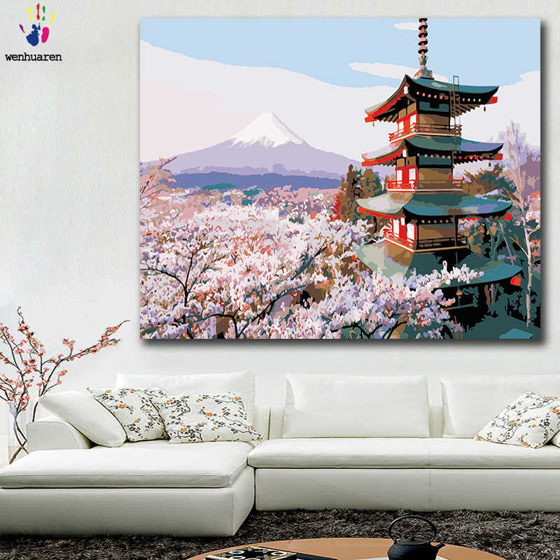 DIY colorings pictures by numbers with colors Peach flower scenery Cherry blossoms picture drawing painting by numbers framed