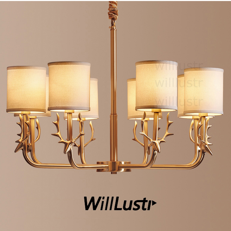 Willlustr antler copper pendant lamp brass hanging light fabric shade Chandelier suspension lighting american country bronze brass half round ball shade pendant light led vintage copper wooden lighting fixture brass wood fabric wire pendant lamp