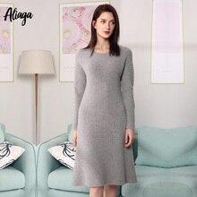 Vestido jersey tejido Casual para mujer invierno vestidos de manga larga 100% Mongolia vestido de Cachemira abrigado grueso pulóveres 2019
