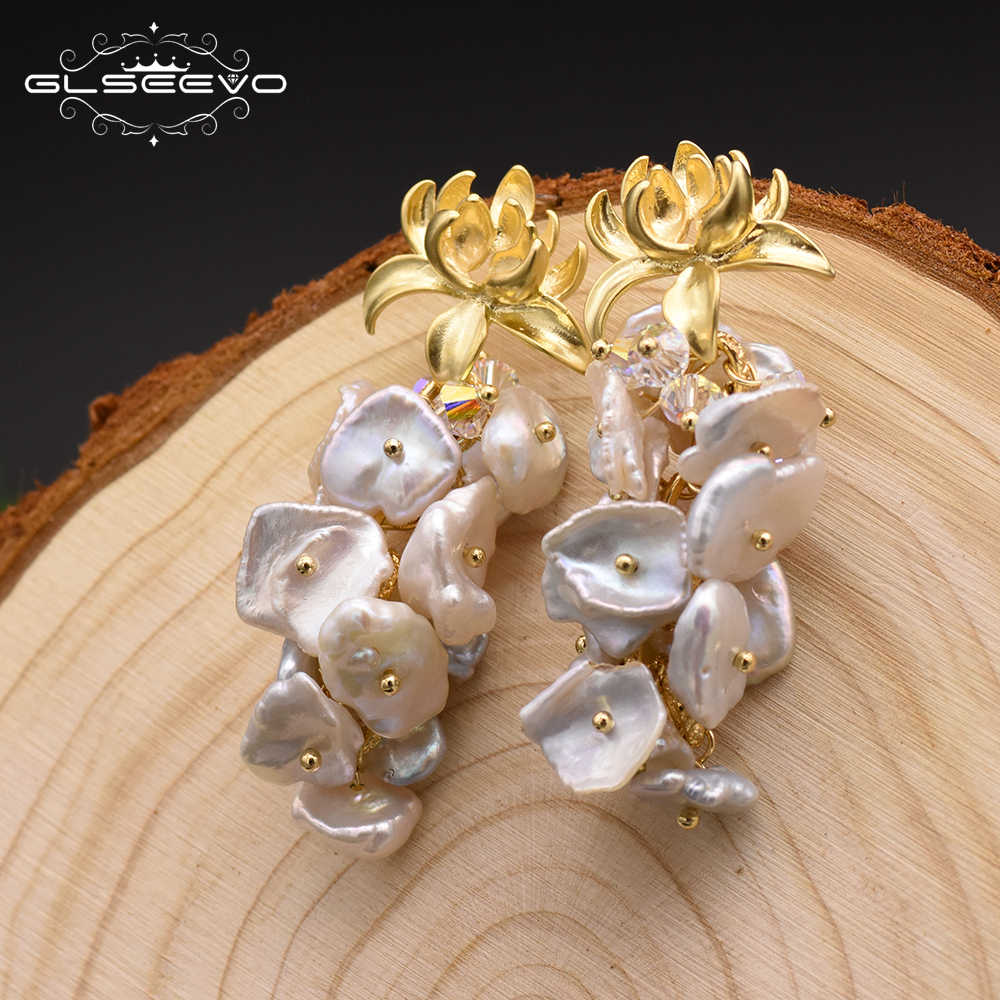 GLSEEVO טבעי טרי מים הבארוק פרל Drop עגילים לנשים חתונה להתנדנד פרח עגילי יוקרה בעבודת יד תכשיטי GE0310