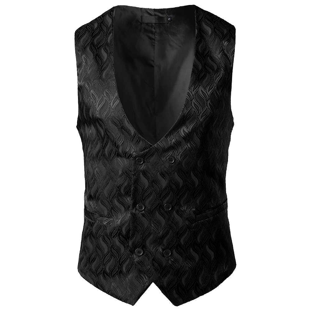 Luxus Jacquard Zweireiher Kleid Weste Männer 2018 Marke Neue Ärmellose Weste Gilet Homme Business Hochzeit Smoking Westen Männer