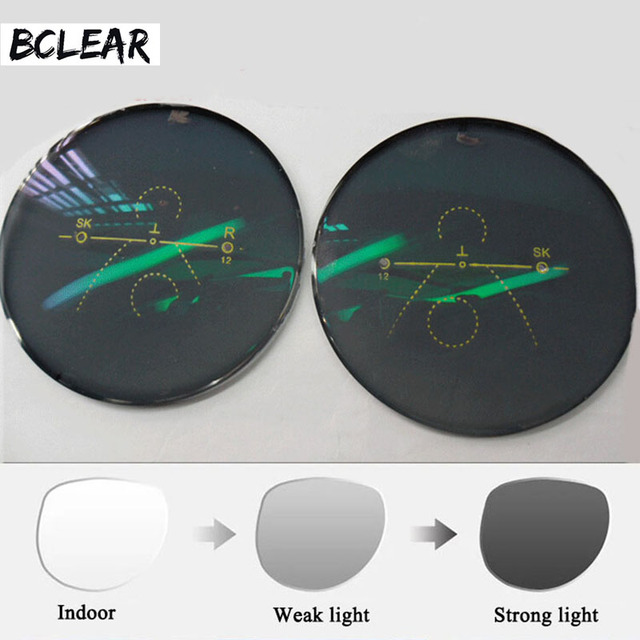 BCLEAR 1.56 โฟกัสด้านหน้าด้านนอก Progressive Chameleon สีเทาสีน้ำตาลแว่นตากันแดด Photochromic เลนส์มาตรฐาน multifocal