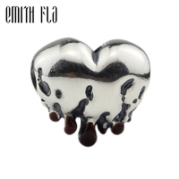 925 Sterling Silver Retro Melting Heart Bead Charm fit Original European Bracelet Jewelry Making Women Vintage Charm Beads Gifts