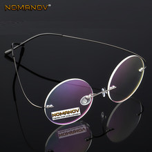 2019 Ultra-light Rimless Round Black Silver Frame Classic Trend Spectacles With Optical Lenses Or Photochromic Gray / Brown(China)