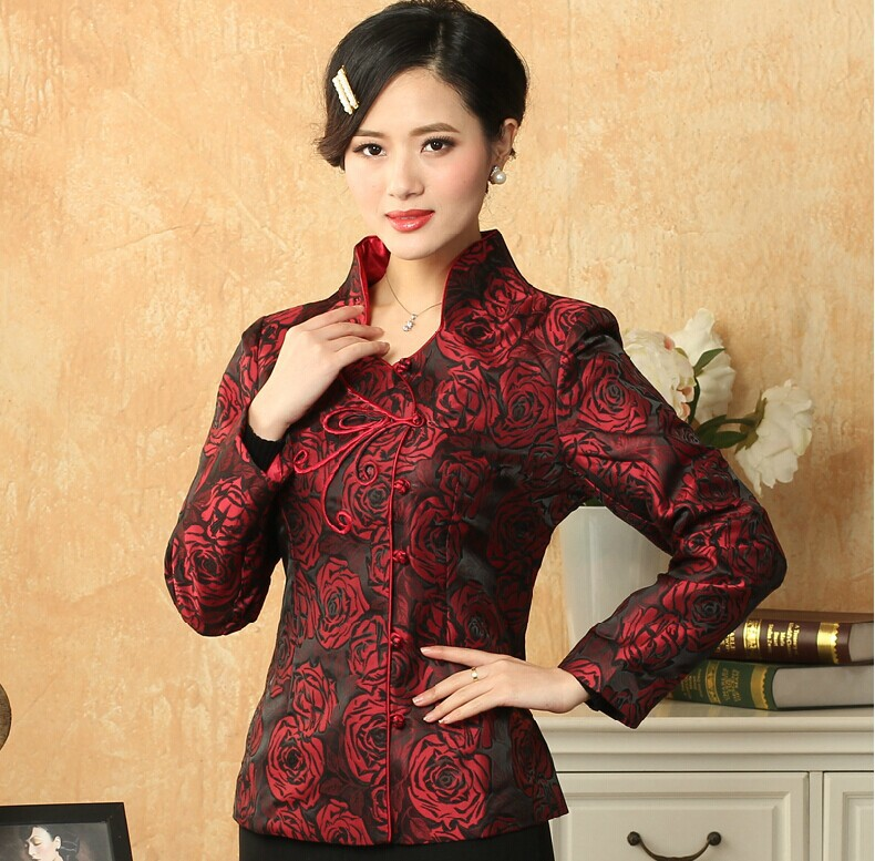 Hottest Chinese Style Lady Silk Satin Overcoat Vintage Mandarin Collar Jacket Single Button Coat Tang Suit Size S To 4xl Jackets & Coats