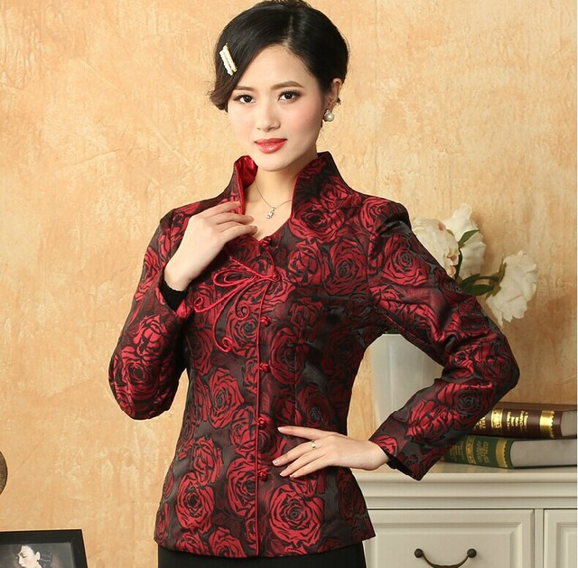Hot New Red Women's Silk Satin Jacket Chinese Style Tang Suit Long Sleeve Slim Costume Floral Coat Size S M L XL XXL XXXL T033
