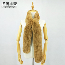 2018 Fashion Women Scarves 100% Natural Rex Rabbit Fur Scarf Female Warm Real Rex Rabbit Fur Winter Scarf Lady Long Muffler