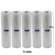 5 рулонов/лот вакуумная сумка для еды для кухонных вакуумных мешков для хранения упаковочная пленка сохраняет свежесть 20 см * 500 см