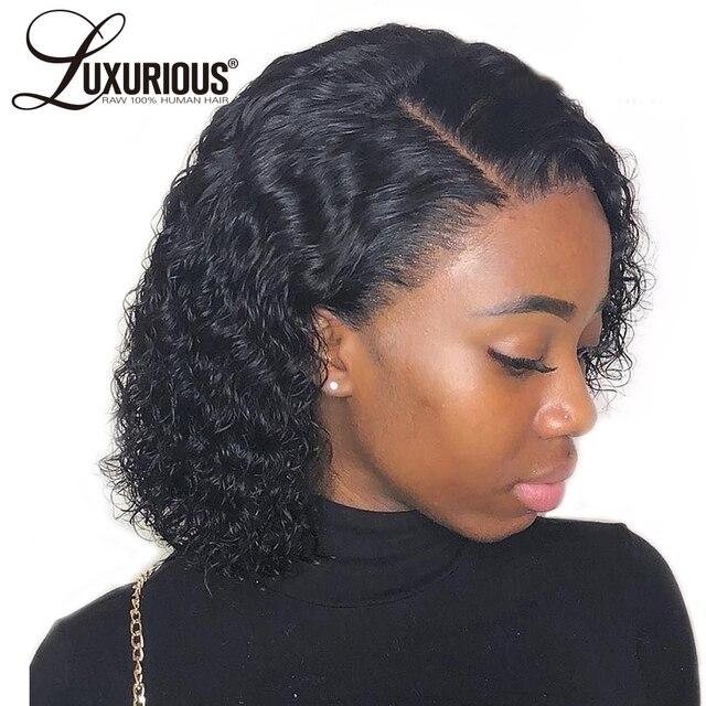 Pelucas de pelo humano de encaje de BOB rizado corto Pre desplumado con pelo de bebé Peluca de encaje Remy brasileño para negro las mujeres de la parte libre