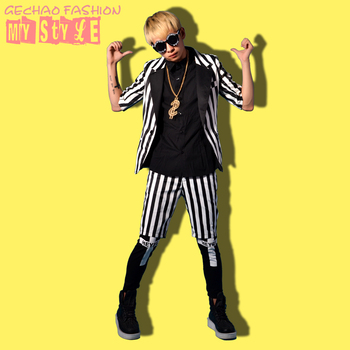 M-6XL!!Nightclub Bar Wide Striped Black and White Sleeve Suits DS Stage Nightclub Bar Singer Costumes.