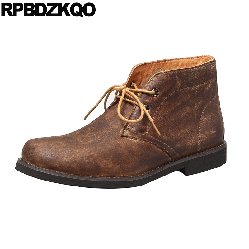 Genuine Leather Autumn Chukka European Booties Designer Shoes Men High Quality Full Grain Handmade Lace Up Brown Ankle Boots